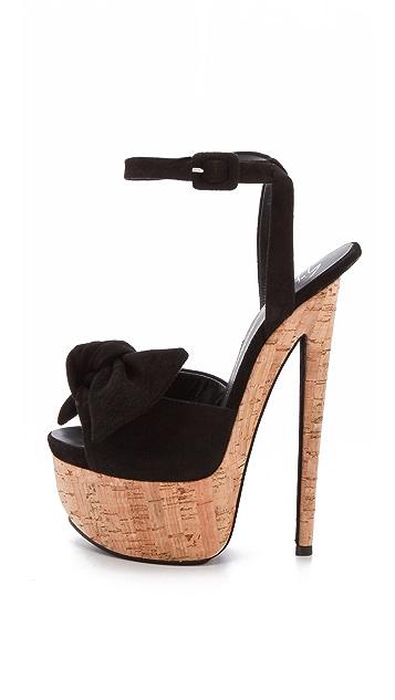Giuseppe Zanotti Bow Platform Suede Sandals