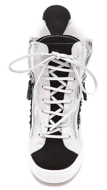 Giuseppe Zanotti Double Zip Wedge Sneakers