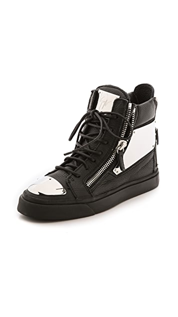 Giuseppe Zanotti London Plated Zip Sneakers