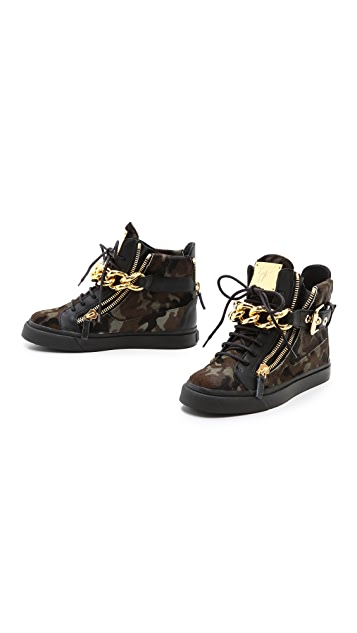 Giuseppe Zanotti Haircalf Double Zip Sneakers