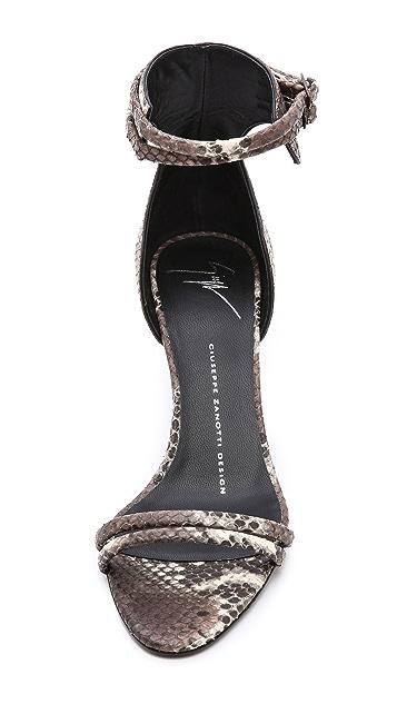 Giuseppe Zanotti Python Kitten Heel Sandals