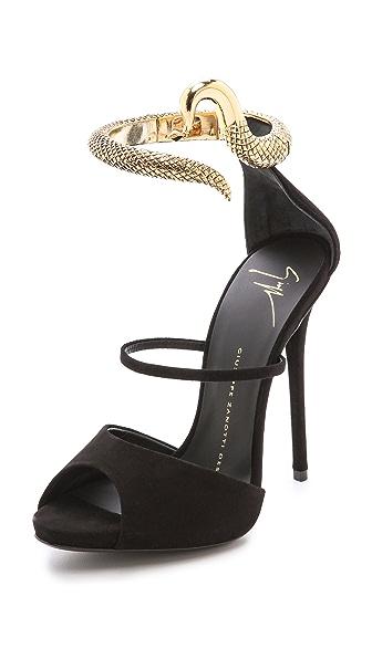 Shoes: black heels, snake strap, snake, sandal heels, amazing ...