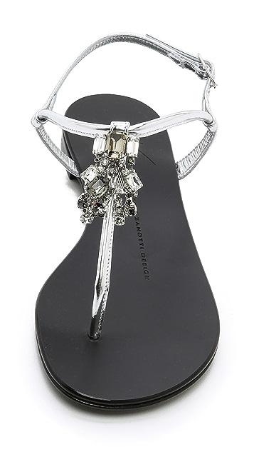 Giuseppe Zanotti Crystal Accent Flat Sandals