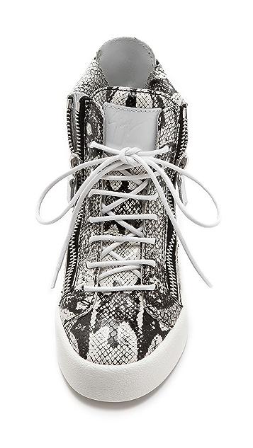Giuseppe Zanotti Double Zip Snake Embossed Sneakers