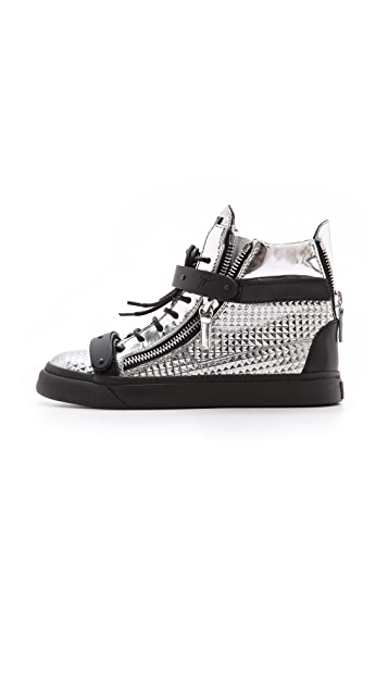 Giuseppe Zanotti London Mirrored Leather Sneakers