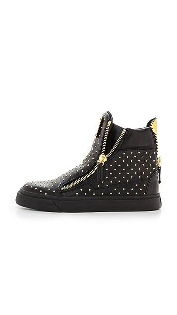 Giuseppe Zanotti Embellished Double Zip Sneakers