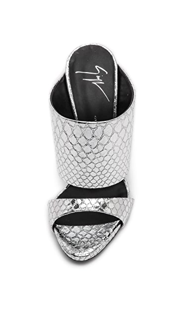Giuseppe Zanotti Silver Snake Sandals