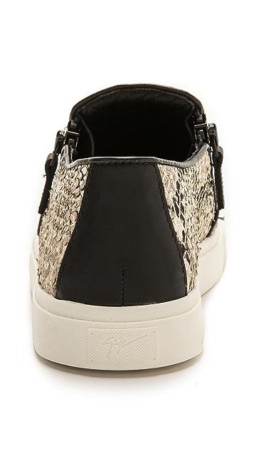 Giuseppe Zanotti Snake Embossed Zip Sneakers