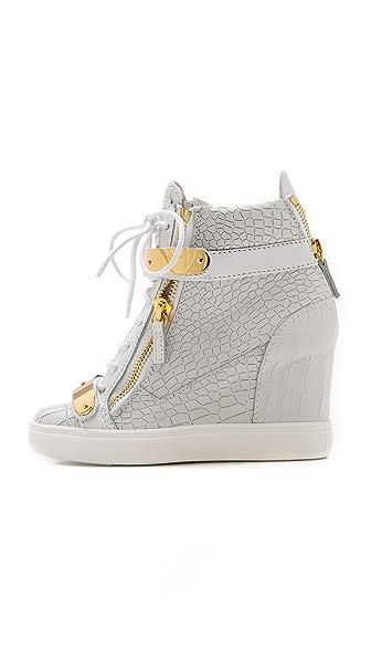 5bd166bdeb40 Giuseppe Zanotti Croc Embossed Wedge Sneakers