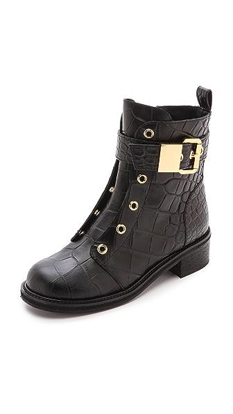 Giuseppe Zanotti Croc Stamped Combat Boots