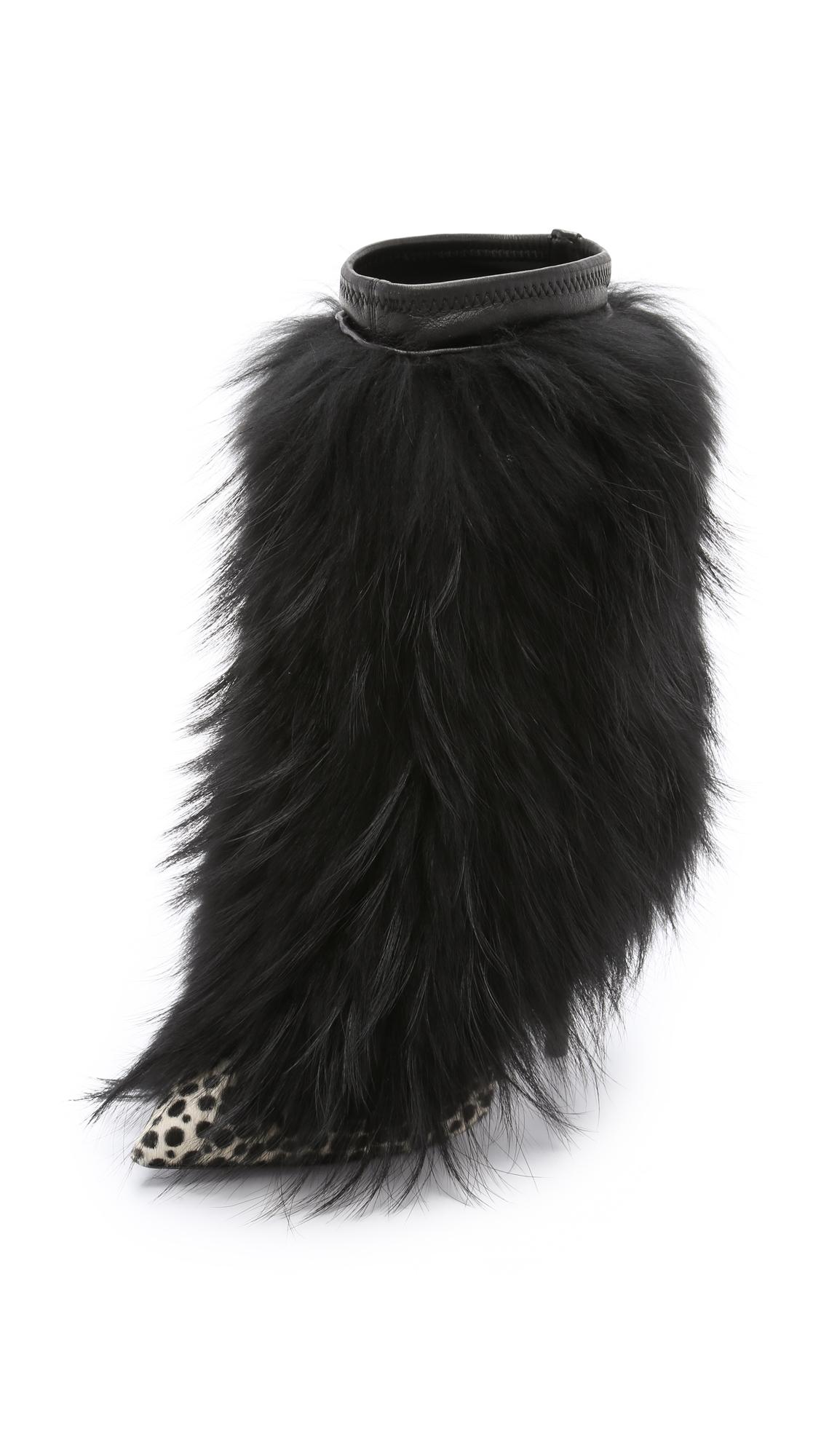 Giuseppe Zanotti Fur Boots - Black at Shopbop
