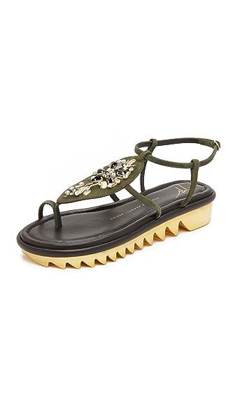 Giuseppe Zanotti Embellished Sandals - Military