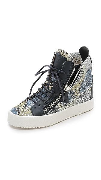 Giuseppe Zanotti Printed Snake Sneakers - Blue Multi