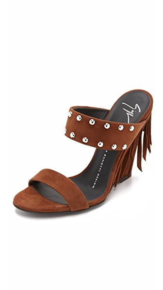 Giuseppe Zanotti Fringed Mules - Brown at Shopbop