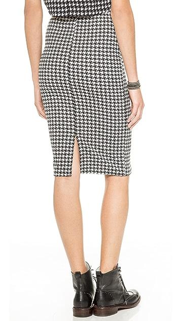 Glamorous Houndstooth Pencil Skirt
