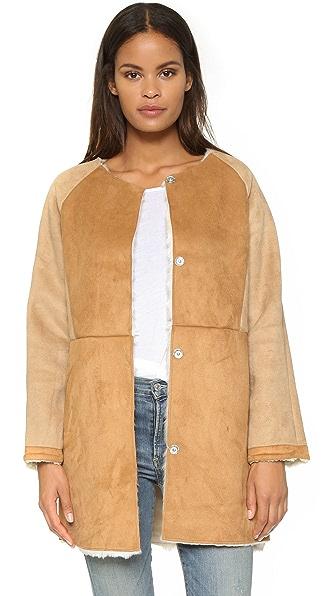 Glamorous Faux Shearling Collarless Jacket