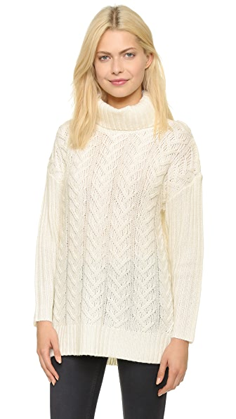 Glamorous Cable Knit Turtleneck Sweater - Cream