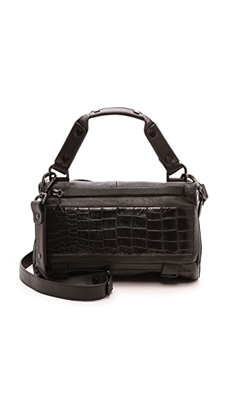 Golden Lane Black Crocodile Small Satchel