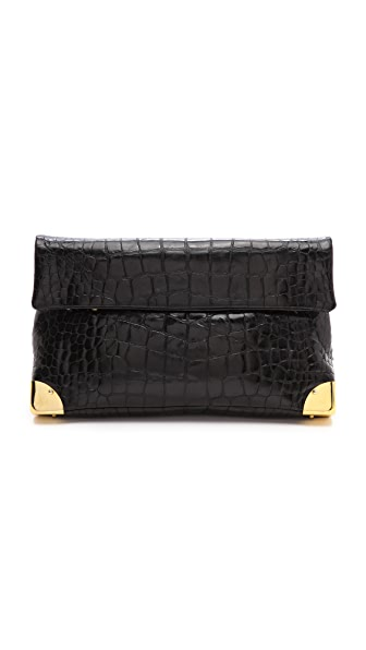 Golden Lane Black Crocodile Small Duo Clutch