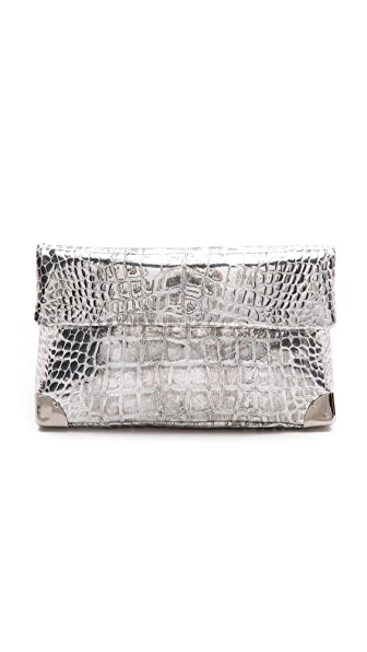 Golden Lane Silver Crocodile Small Duo Clutch