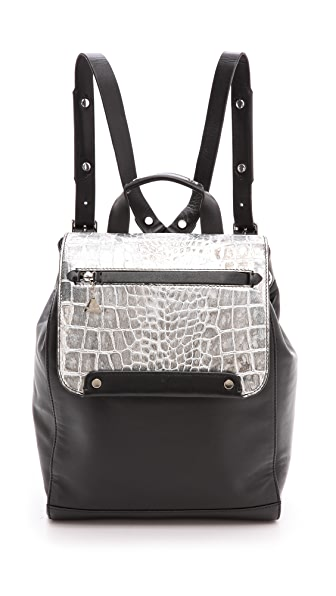 Golden Lane Silver Croc Backpack