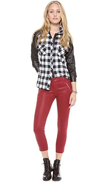 Generation Love Faux Leather Sleeve Plaid Top