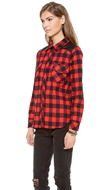 Generation Love Perforated Plaid Combo Shirt