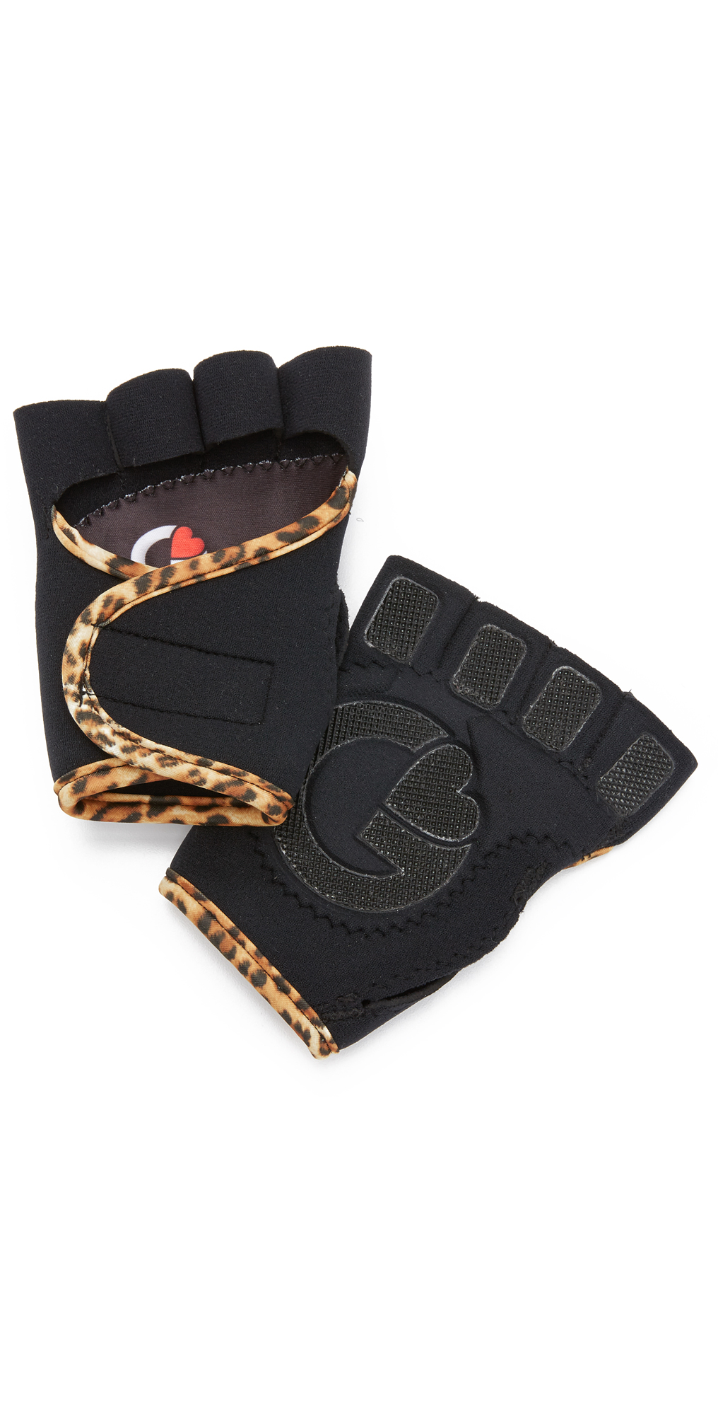 G-Loves Black with Leopard Workout Gloves