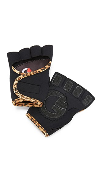 G-Loves Black with Leopard Workout Gloves - Black/Leopard
