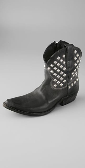 Golden Goose Star Zip Ankle Booties with Pyramid Studs