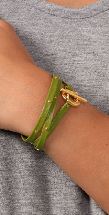 Gorjana Graham Leather Studded Wrap Bracelet