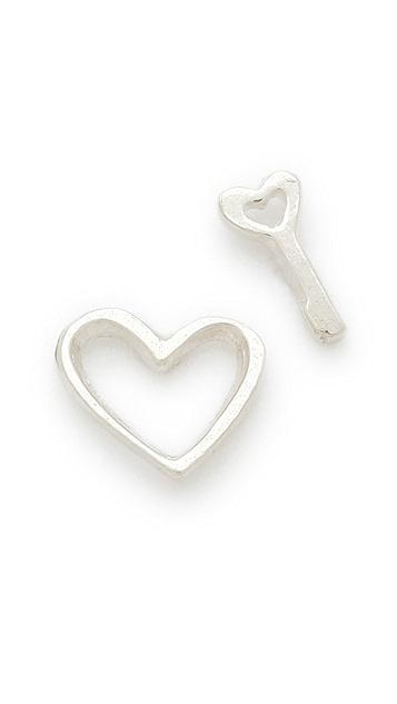 Gorjana Heart and Love Key Stud Earrings