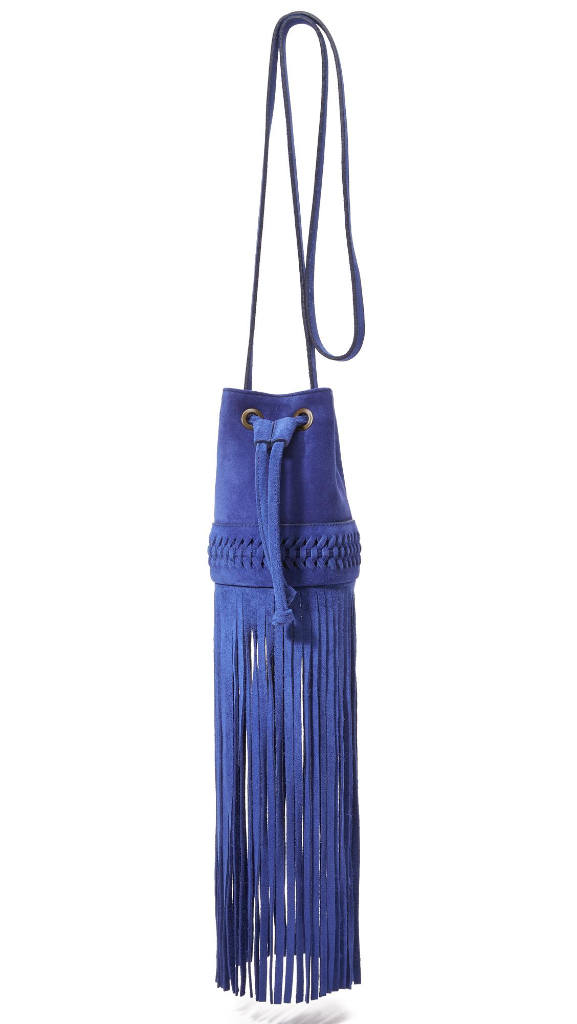 grace atelier de lux female 201920 grace atelier de lux long fringe baby babette bucket bag royal blue