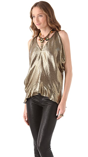 Maria Grachvogel Metallic Open Sleeve Top
