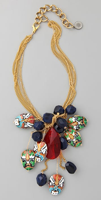 Gemma Redux Gold Lariat Necklace with Faces