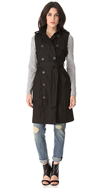 Gryphon Knit Sleeve Trench Coat
