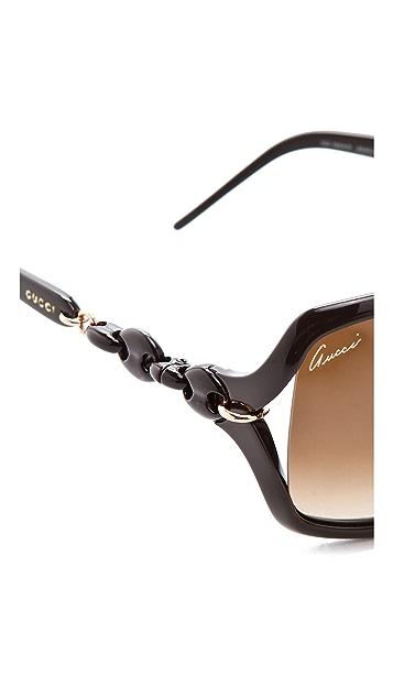 Gucci Chain Link Square Sunglasses