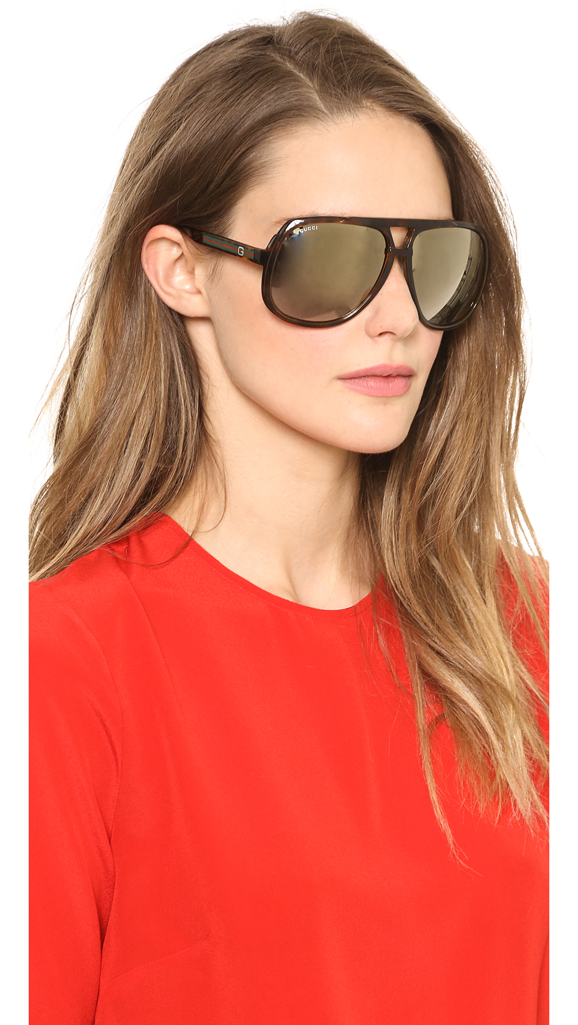 oversized aviator glasses  Gucci Oversized Aviator Sunglasses