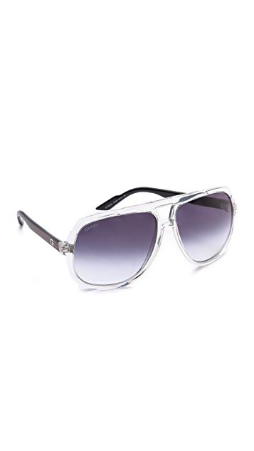 Gucci Mirrored Oversized Aviator Sunglasses