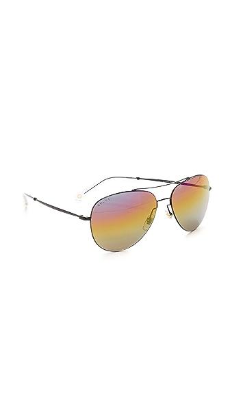 Gucci Rainbow Mirrored Aviator Sunglasses