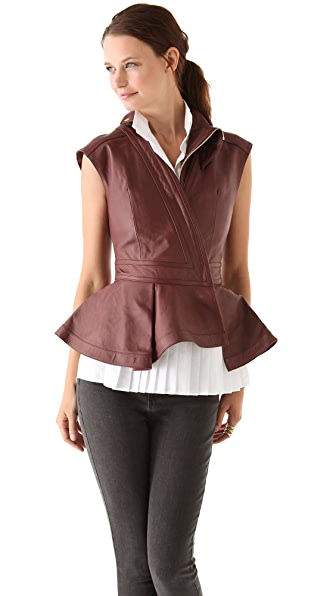 Hakaan Leather Peplum Vest
