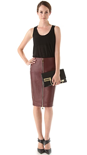 Hakaan Leather Zip Front Pencil Skirt