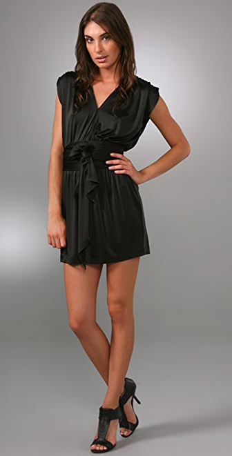 Halston Heritage Shirred Shoulder Dress