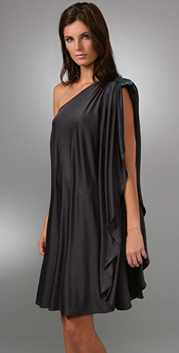 Halston Heritage One Shoulder Dress with Sequin Epaulet