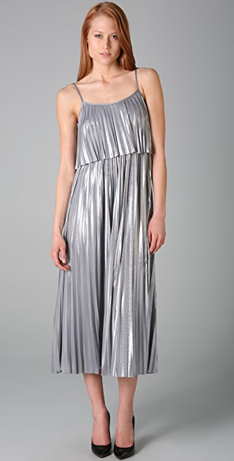Halston Heritage Pleated Evening Dress