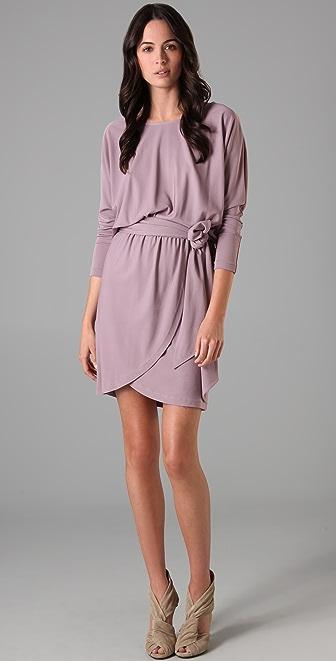 Halston Heritage Wide Neck Sash Dress