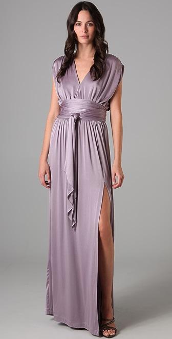 Halston Heritage Shirred Shoulder Long Dress - SHOPBOP