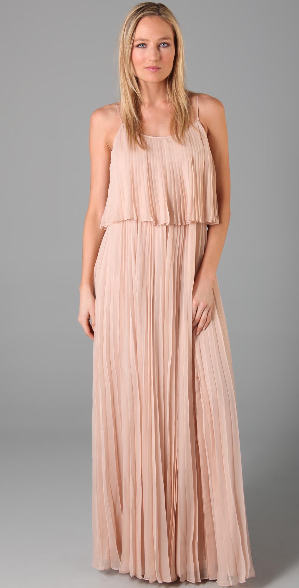 88219e62054 Halston Heritage Pleated Chiffon Long Dress