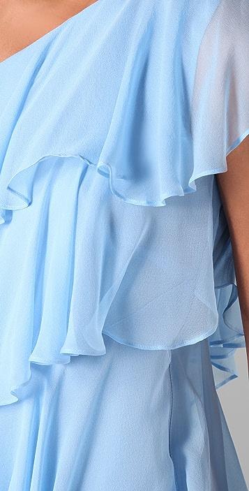 Halston Heritage Ruffle Chiffon Cocktail Dress
