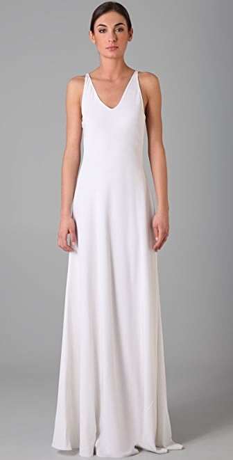 Halston Heritage Double V Long Dress